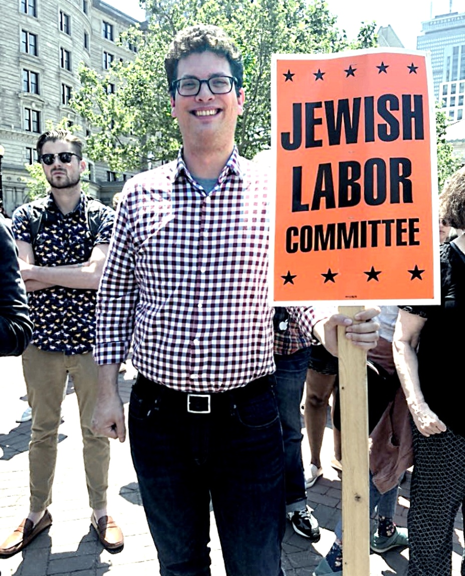 4 web 2 NE JLC Regional Director Ari Fertig at Wayfair workers walkout June 26 2019.jpg